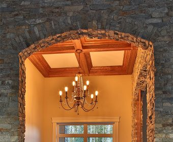 Cultured stone installed indoors